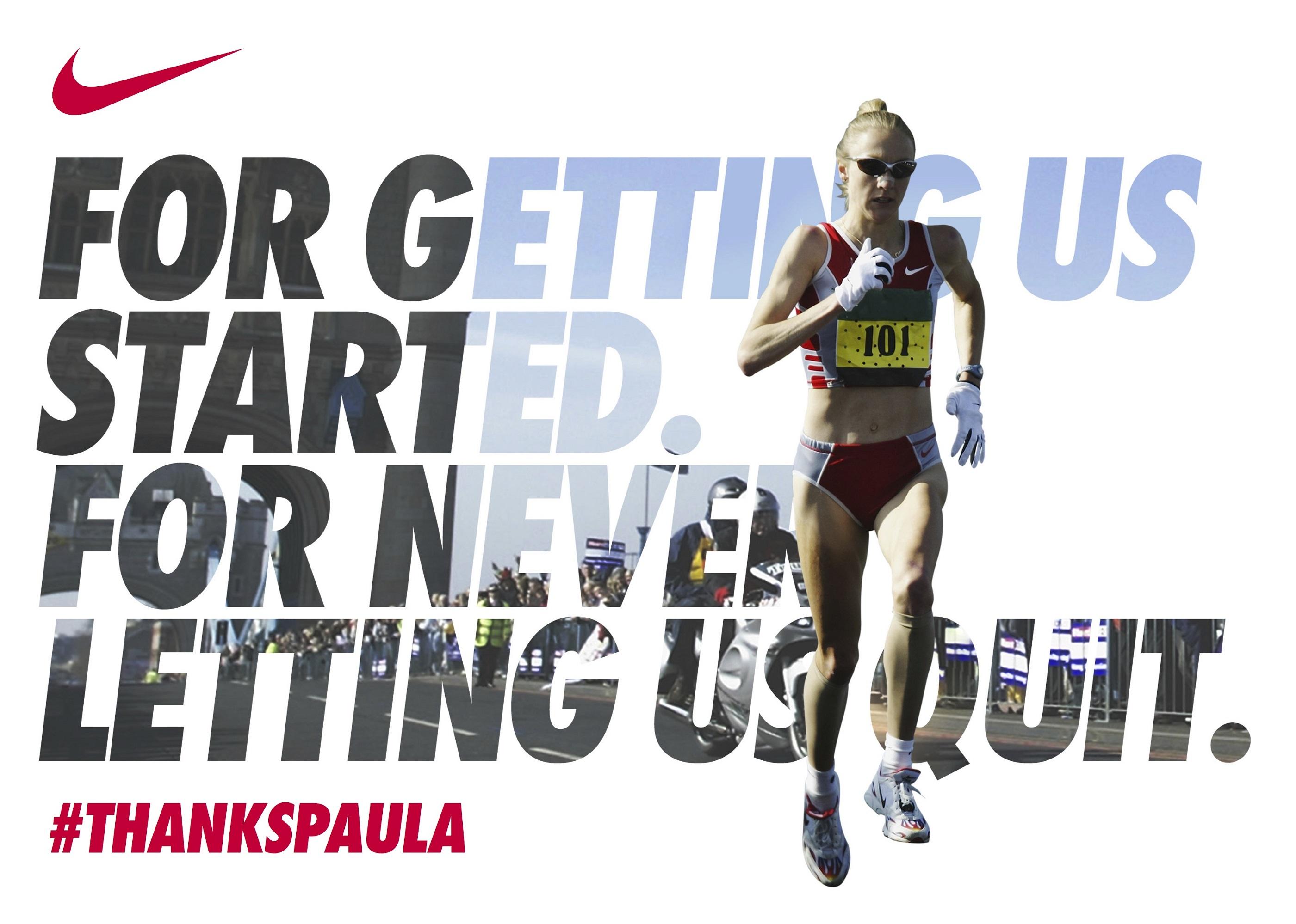 nike向传奇女子马拉松运动员paula radcliffe致敬